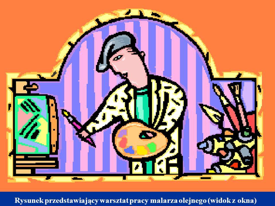 Rysunek przedstawiający warsztat pracy malarza olejnego (widok z okna)