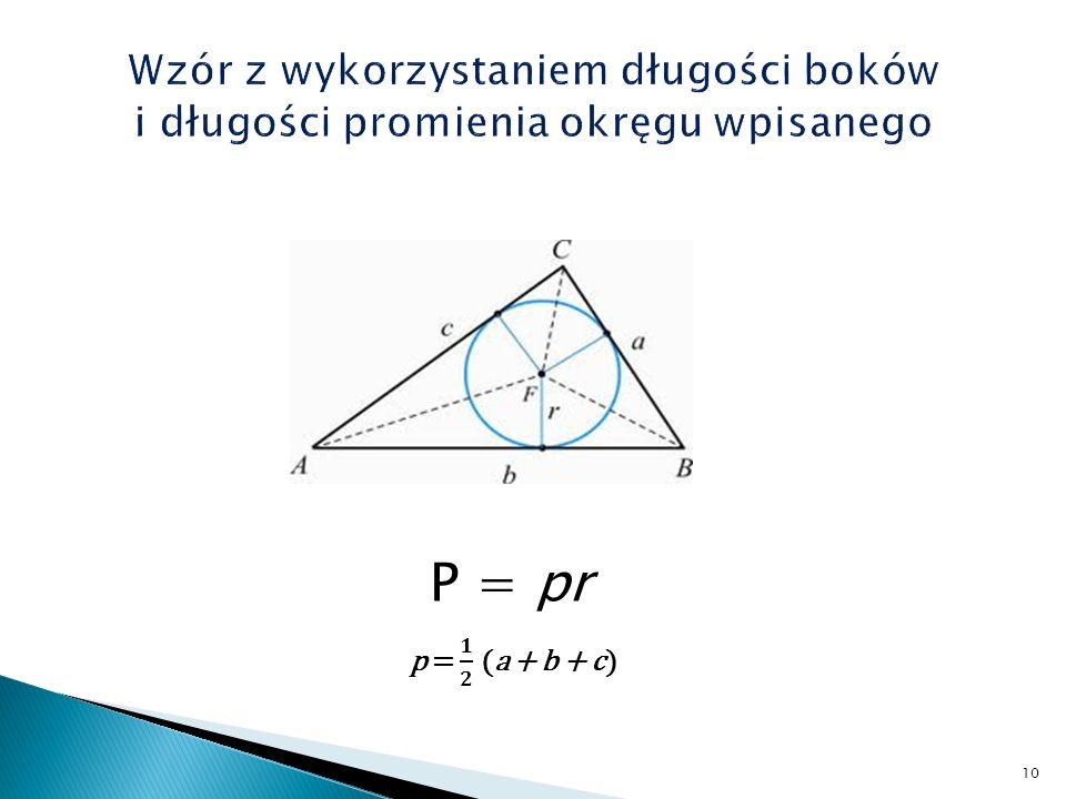 Wzór z wykorzystaniem długości boków i długości promienia okręgu wpisanego