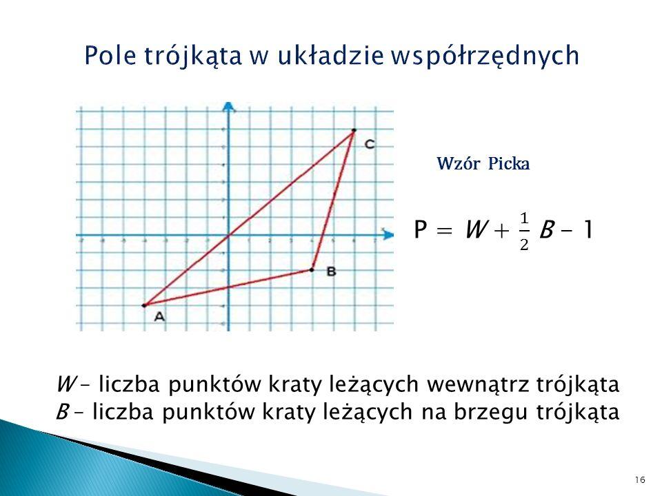 Pole trójkąta w układzie współrzędnych