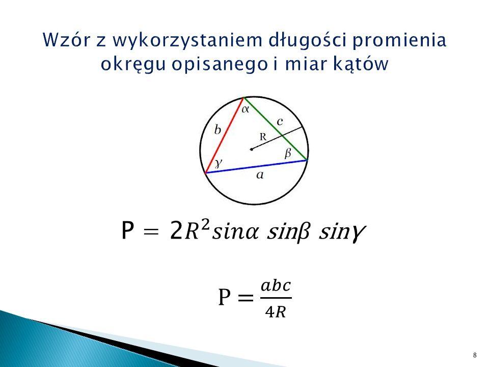 Wzór z wykorzystaniem długości promienia okręgu opisanego i miar kątów