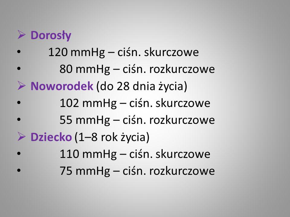 Dorosły 120 mmHg – ciśn. skurczowe. 80 mmHg – ciśn. rozkurczowe. Noworodek (do 28 dnia życia) 102 mmHg – ciśn. skurczowe.