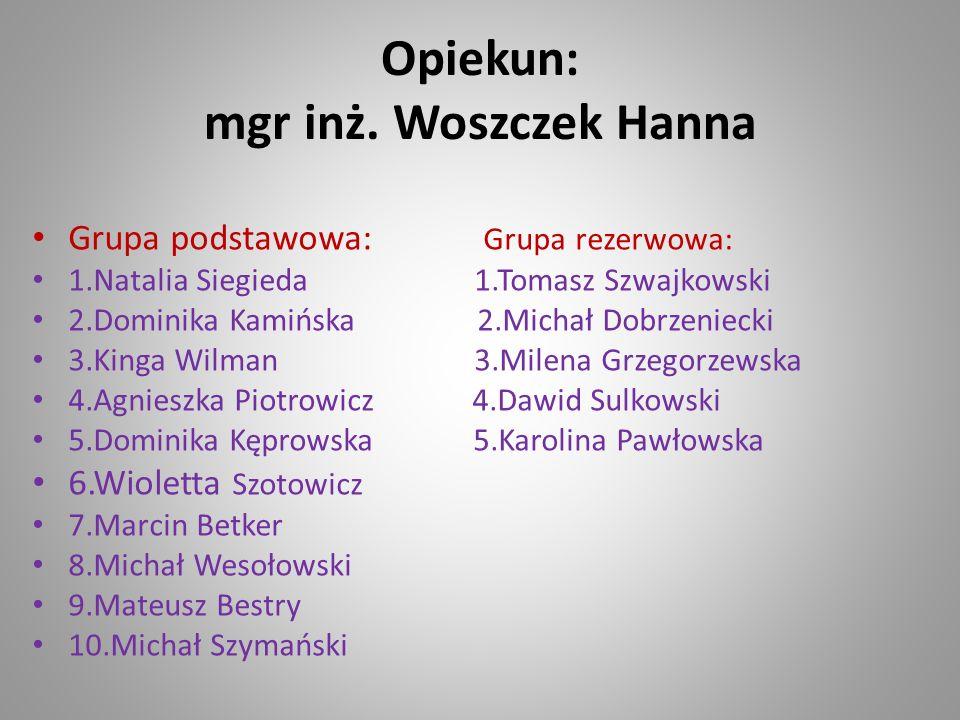 Opiekun: mgr inż. Woszczek Hanna