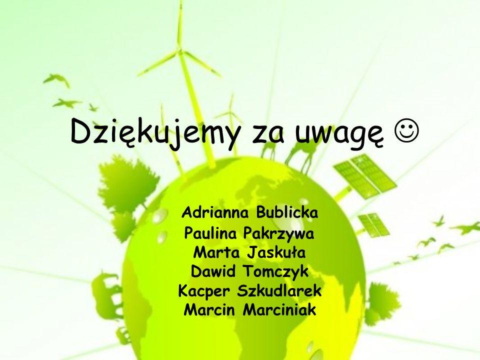 Dziękujemy za uwagę  Adrianna Bublicka Paulina Pakrzywa Marta Jaskuła Dawid Tomczyk Kacper Szkudlarek Marcin Marciniak.