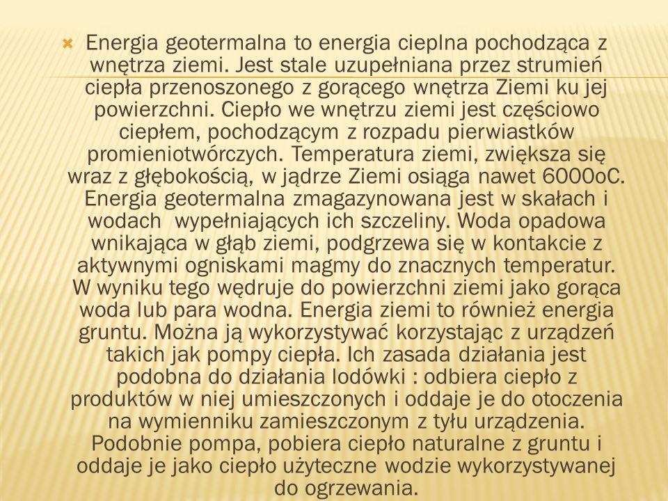 Energia geotermalna to energia cieplna pochodząca z wnętrza ziemi