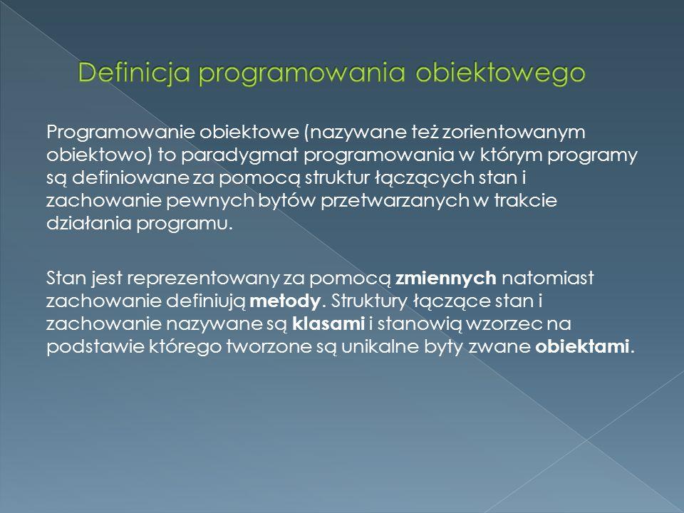 Definicja programowania obiektowego