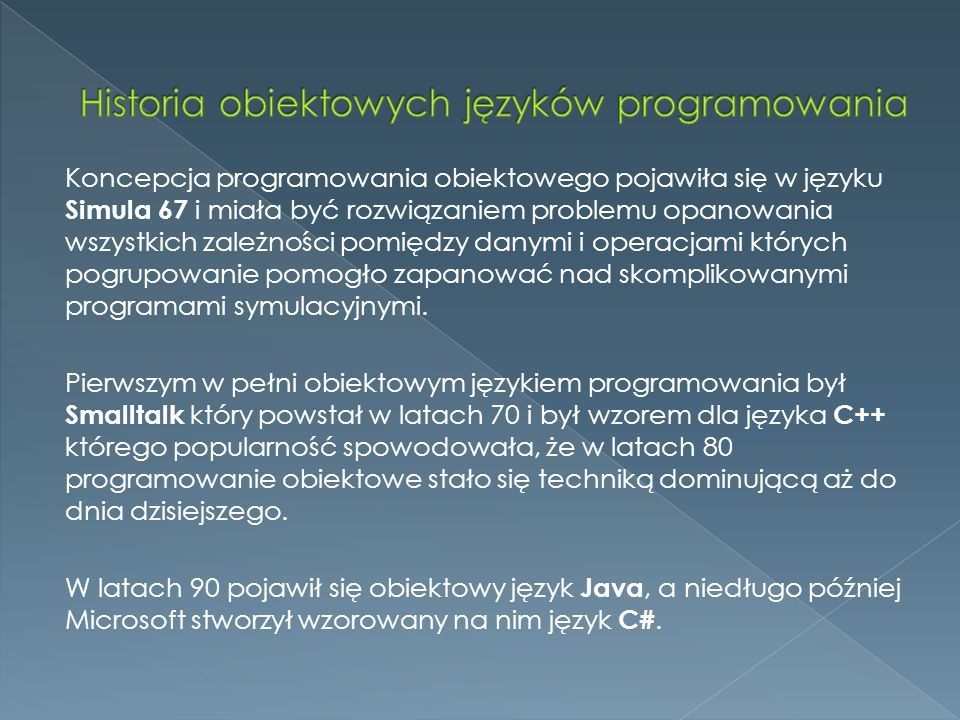 Historia obiektowych języków programowania