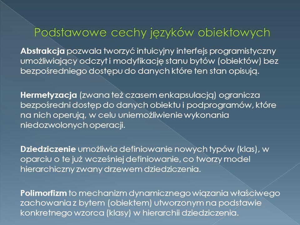 Podstawowe cechy języków obiektowych