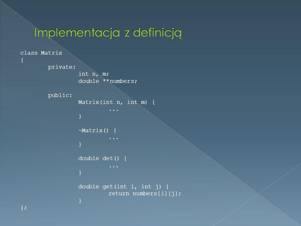 Implementacja z definicją