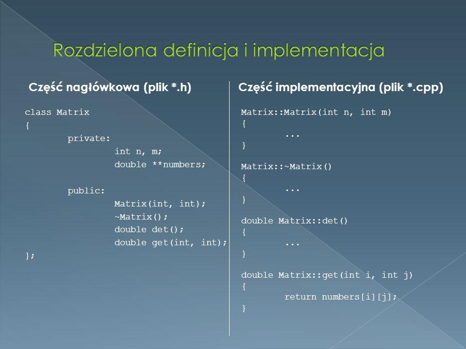 Rozdzielona definicja i implementacja