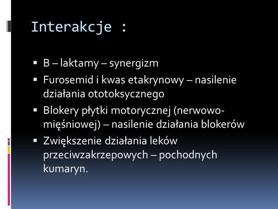 Interakcje : B – laktamy – synergizm