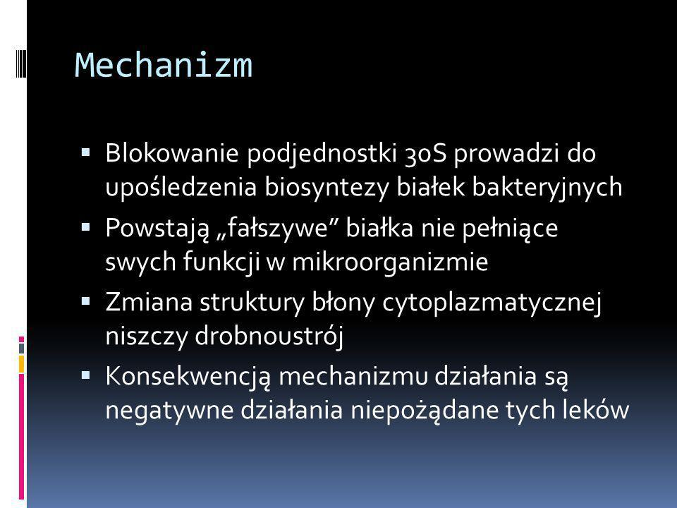 Mechanizm Blokowanie podjednostki 30S prowadzi do upośledzenia biosyntezy białek bakteryjnych.