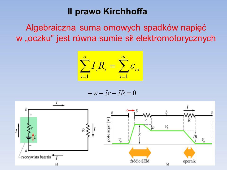 """II prawo Kirchhoffa Algebraiczna suma omowych spadków napięć w """"oczku jest równa sumie sił elektromotorycznych."""