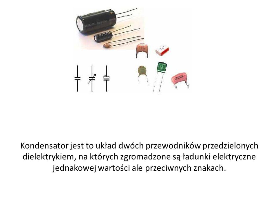 Kondensator jest to układ dwóch przewodników przedzielonych dielektrykiem, na których zgromadzone są ładunki elektryczne jednakowej wartości ale przeciwnych znakach.