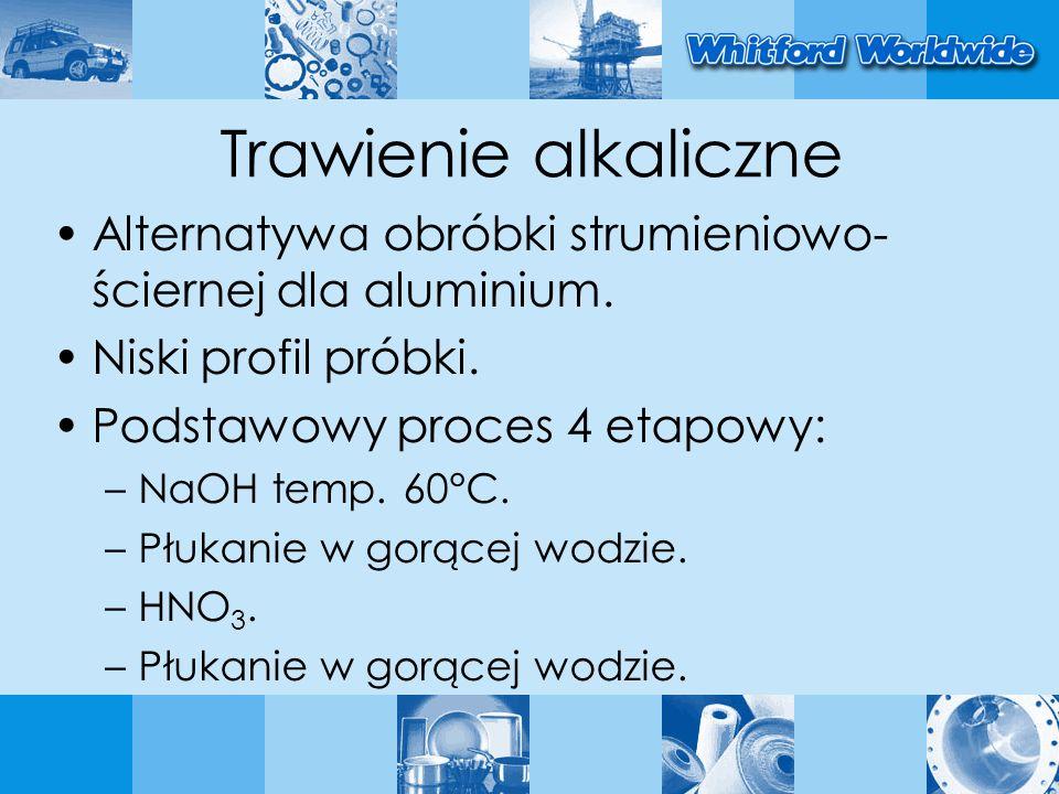 Trawienie alkaliczne Alternatywa obróbki strumieniowo-ściernej dla aluminium. Niski profil próbki.