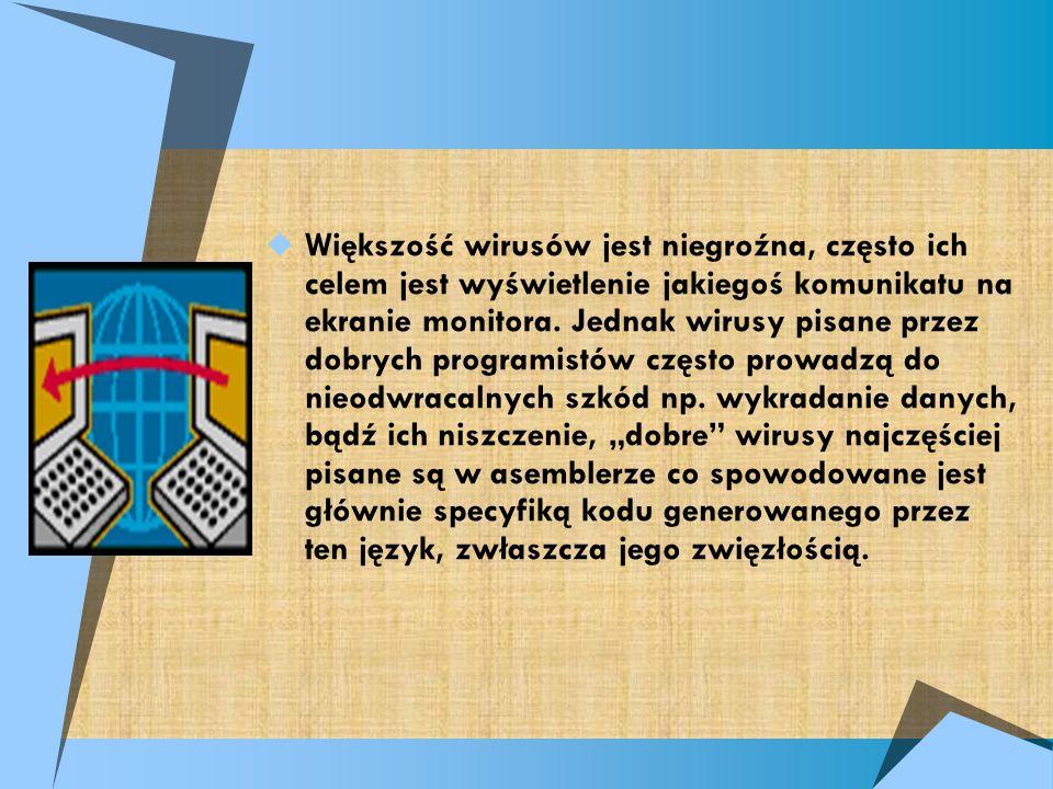 Większość wirusów jest niegroźna, często ich celem jest wyświetlenie jakiegoś komunikatu na ekranie monitora.
