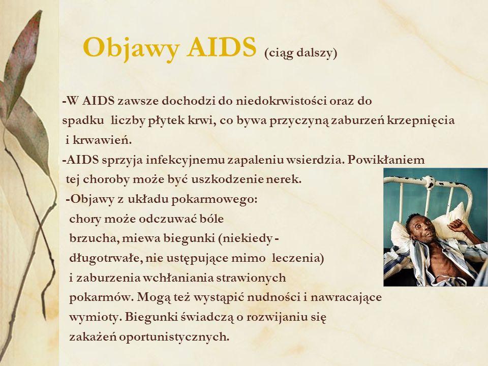 Objawy AIDS (ciąg dalszy)
