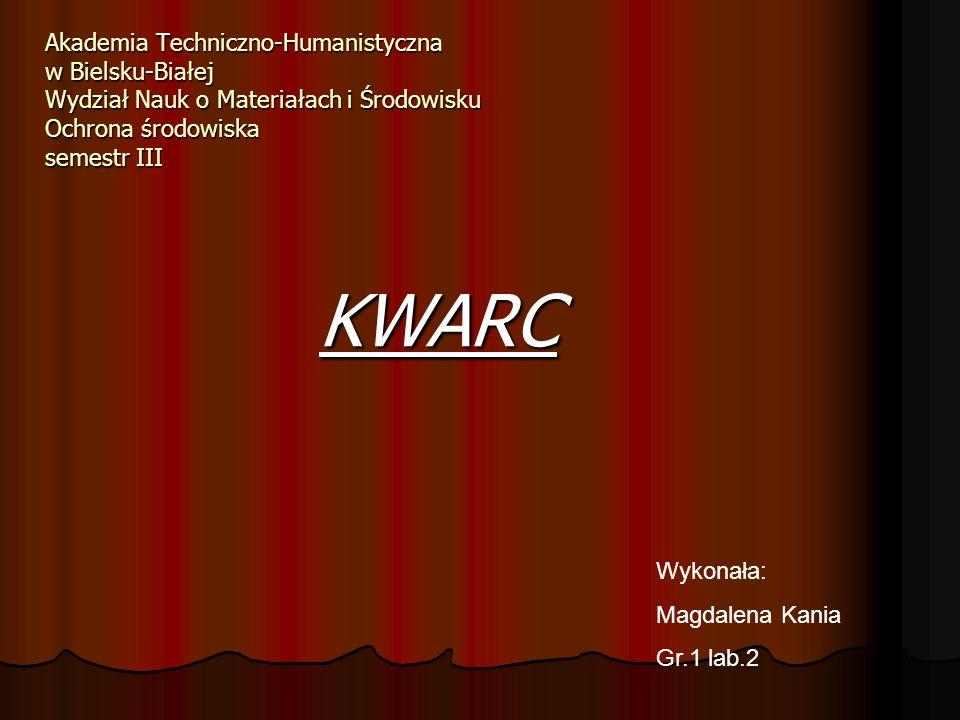 Akademia Techniczno-Humanistyczna w Bielsku-Białej Wydział Nauk o Materiałach i Środowisku Ochrona środowiska semestr III
