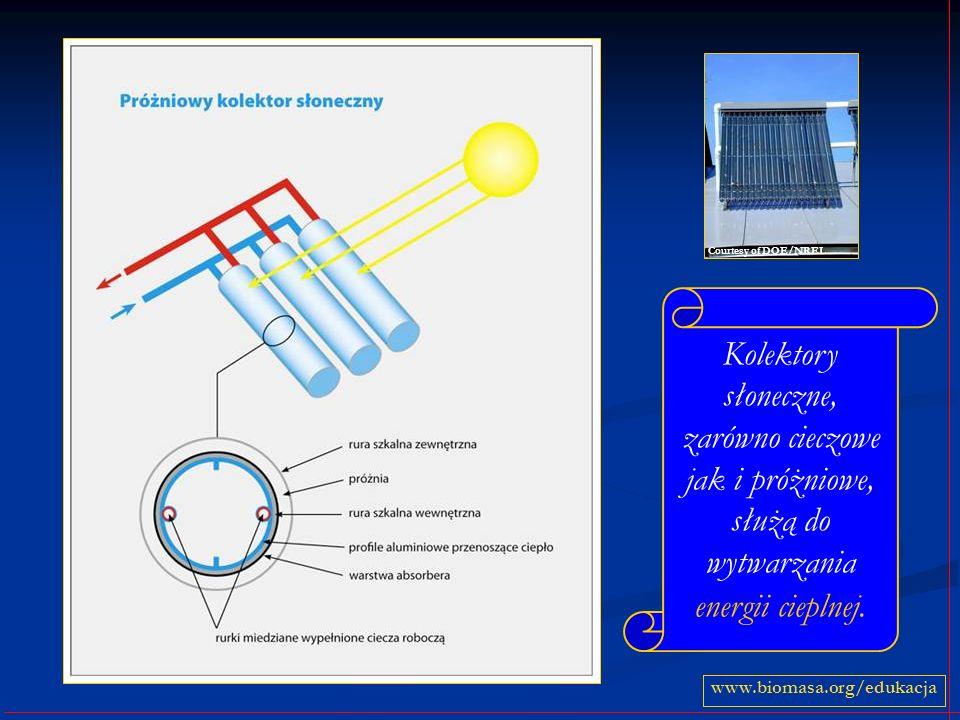 Courtesy of DOE/NRELKolektory słoneczne, zarówno cieczowe jak i próżniowe, służą do wytwarzania energii cieplnej.