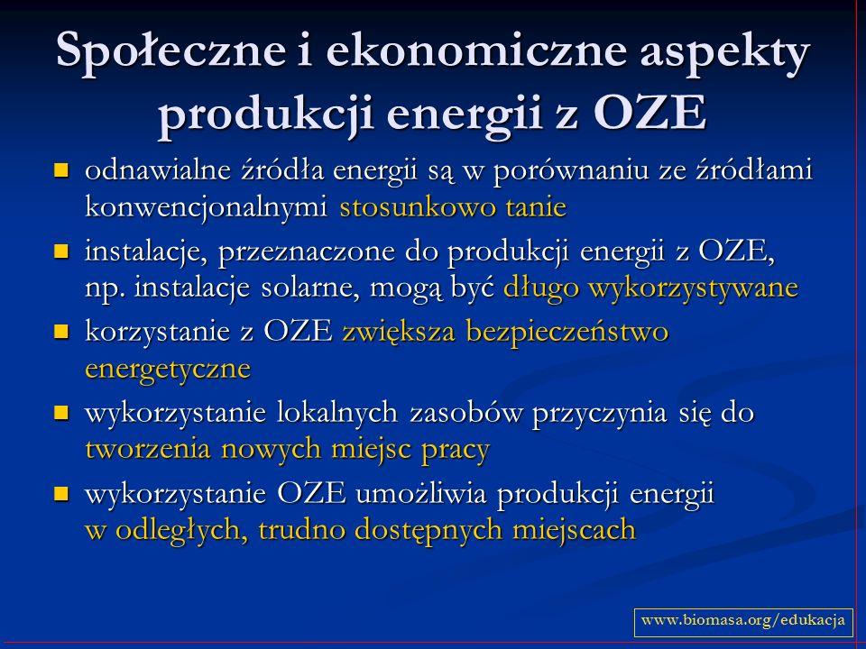 Społeczne i ekonomiczne aspekty produkcji energii z OZE