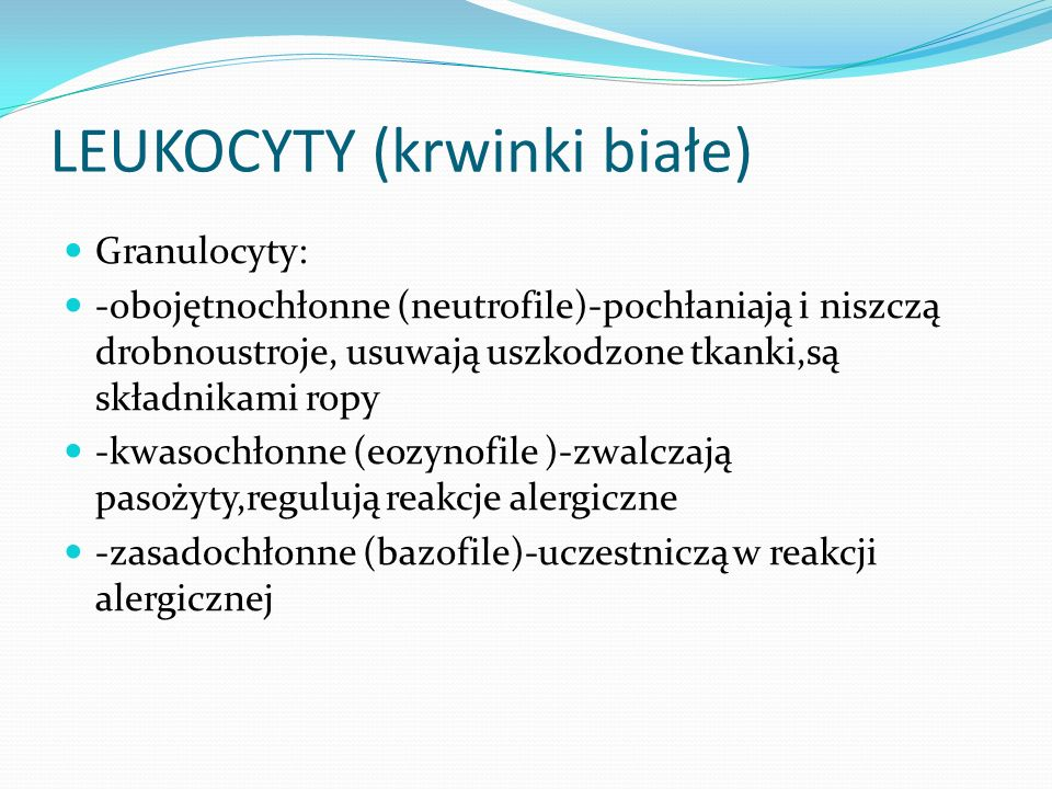 LEUKOCYTY (krwinki białe)