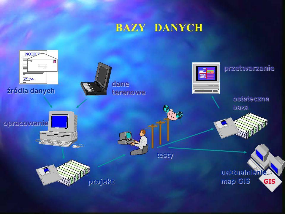 BAZY DANYCH przetwarzanie dane terenowe źródła danych ostateczna baza