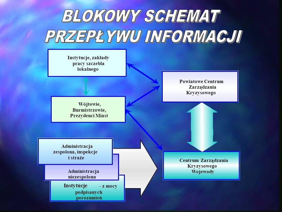 BLOKOWY SCHEMAT PRZEPŁYWU INFORMACJI Instytucje Instytucje, zakłady