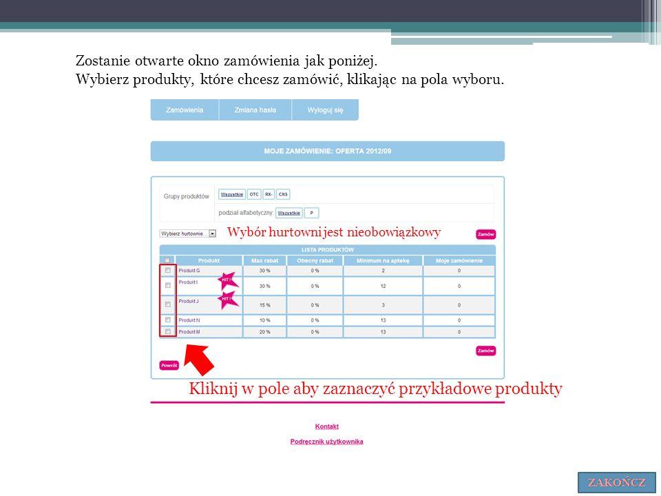 Kliknij w pole aby zaznaczyć przykładowe produkty