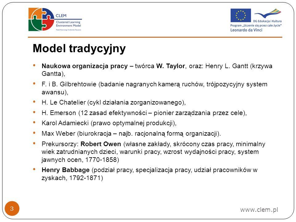 Model tradycyjny Naukowa organizacja pracy – twórca W. Taylor, oraz: Henry L. Gantt (krzywa Gantta),