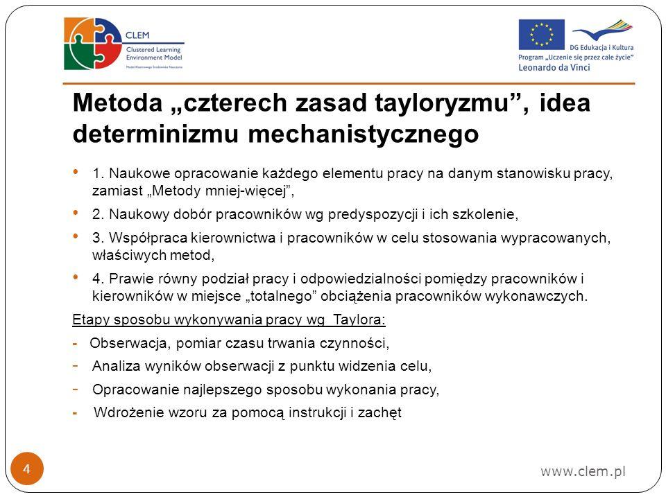 """Metoda """"czterech zasad tayloryzmu , idea determinizmu mechanistycznego"""
