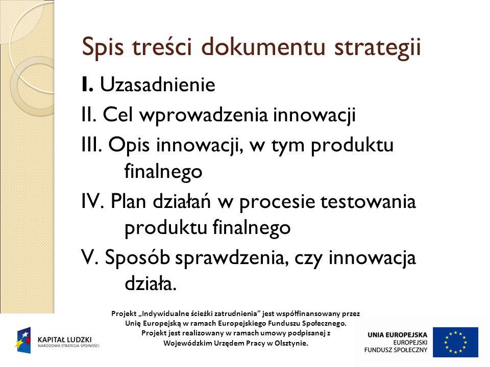 Spis treści dokumentu strategii