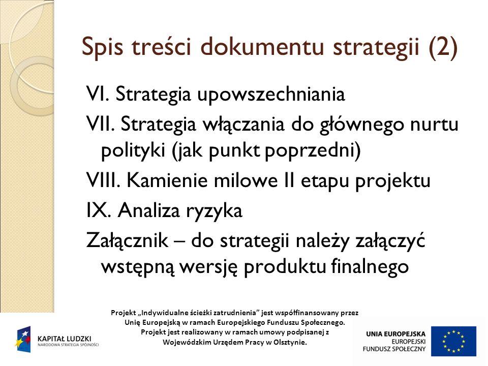 Spis treści dokumentu strategii (2)