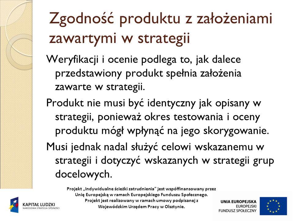 Zgodność produktu z założeniami zawartymi w strategii