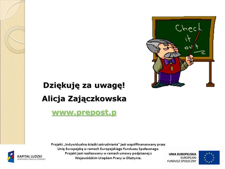 Dziękuję za uwagę! Alicja Zajączkowska www.prepost.p