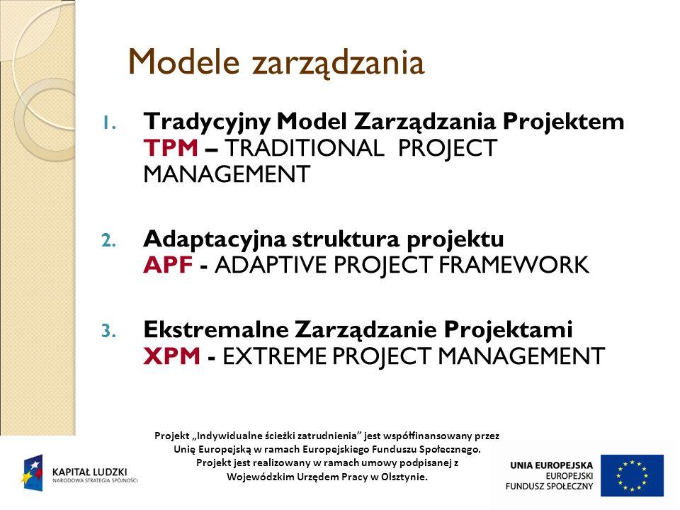 Modele zarządzania Tradycyjny Model Zarządzania Projektem TPM – TRADITIONAL PROJECT MANAGEMENT.