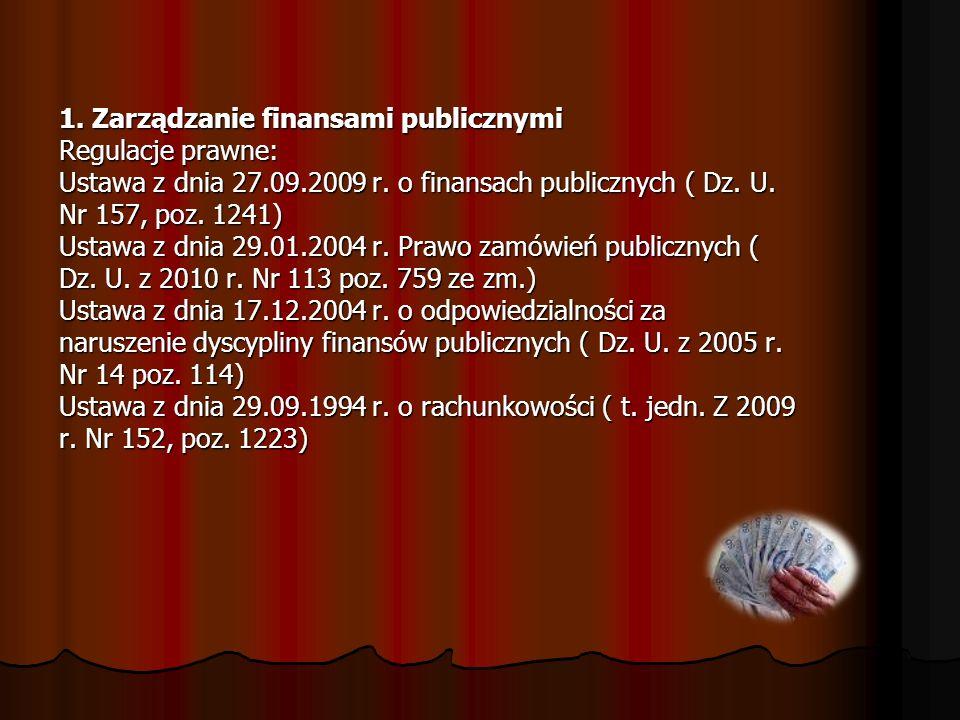 1. Zarządzanie finansami publicznymi