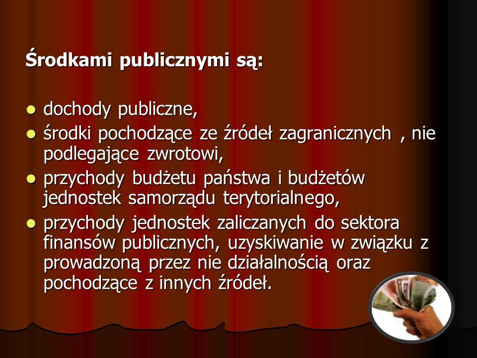 Środkami publicznymi są: