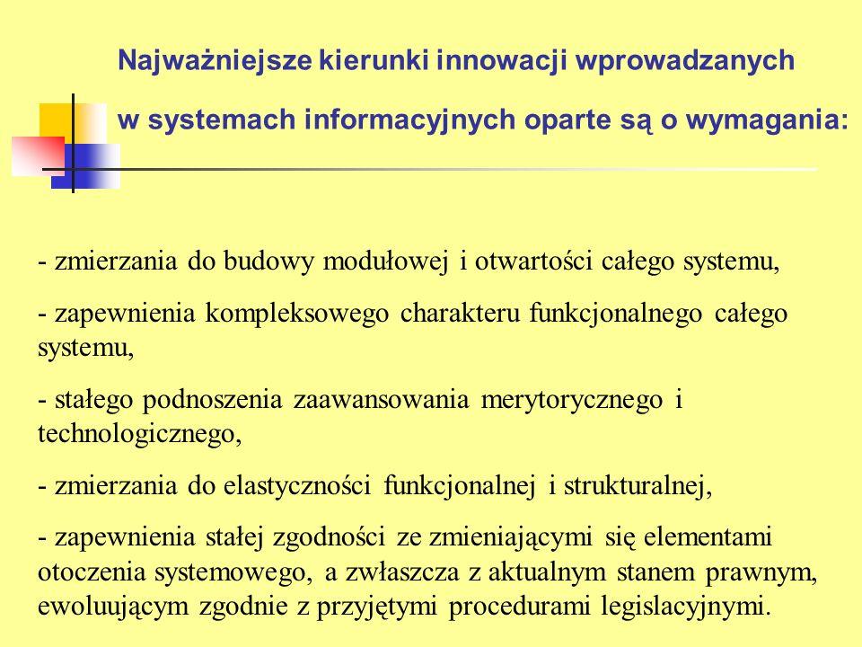 Najważniejsze kierunki innowacji wprowadzanych w systemach informacyjnych oparte są o wymagania: