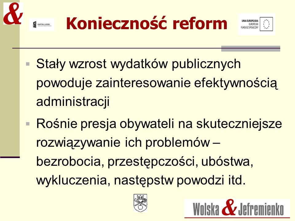 Konieczność reform Stały wzrost wydatków publicznych powoduje zainteresowanie efektywnością administracji.