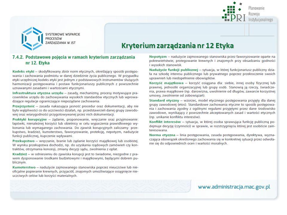 Kryterium zarządzania nr 12 Etyka