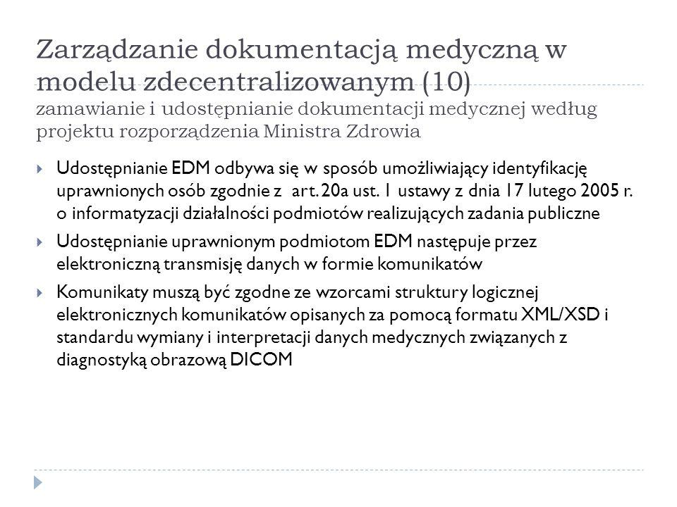 Zarządzanie dokumentacją medyczną w modelu zdecentralizowanym (10) zamawianie i udostępnianie dokumentacji medycznej według projektu rozporządzenia Ministra Zdrowia
