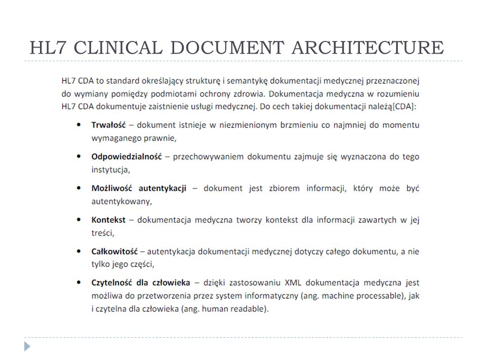 HL7 CLINICAL DOCUMENT ARCHITECTURE