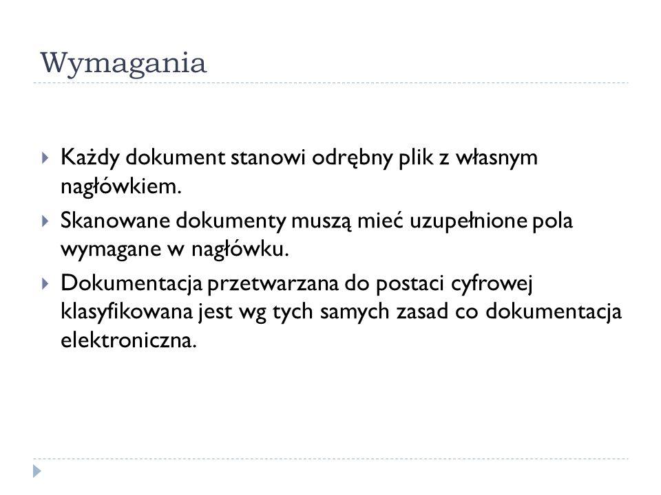 Wymagania Każdy dokument stanowi odrębny plik z własnym nagłówkiem.