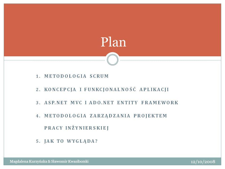 Plan Metodologia Scrum Koncepcja i funkcjonalność aplikacji