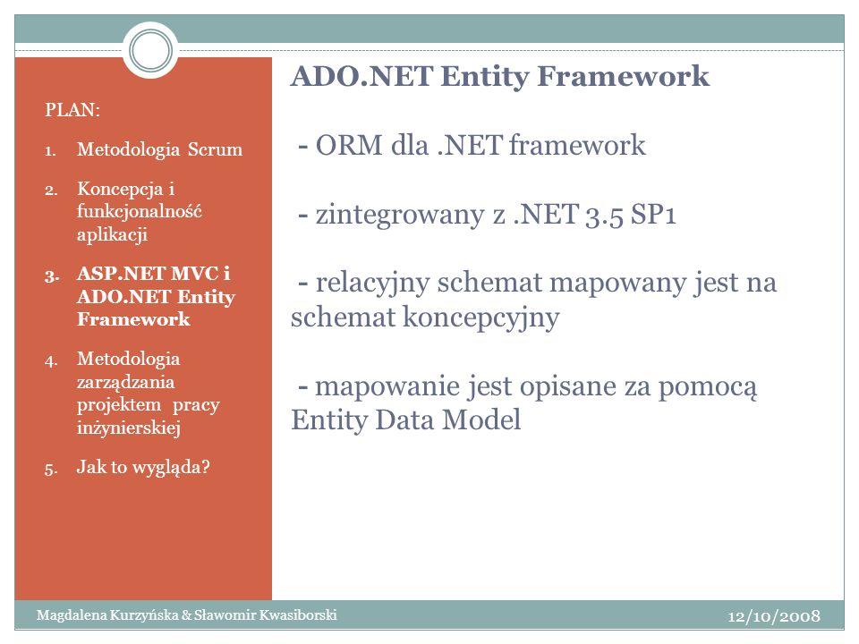 ADO. NET Entity Framework - ORM dla. NET framework - zintegrowany z