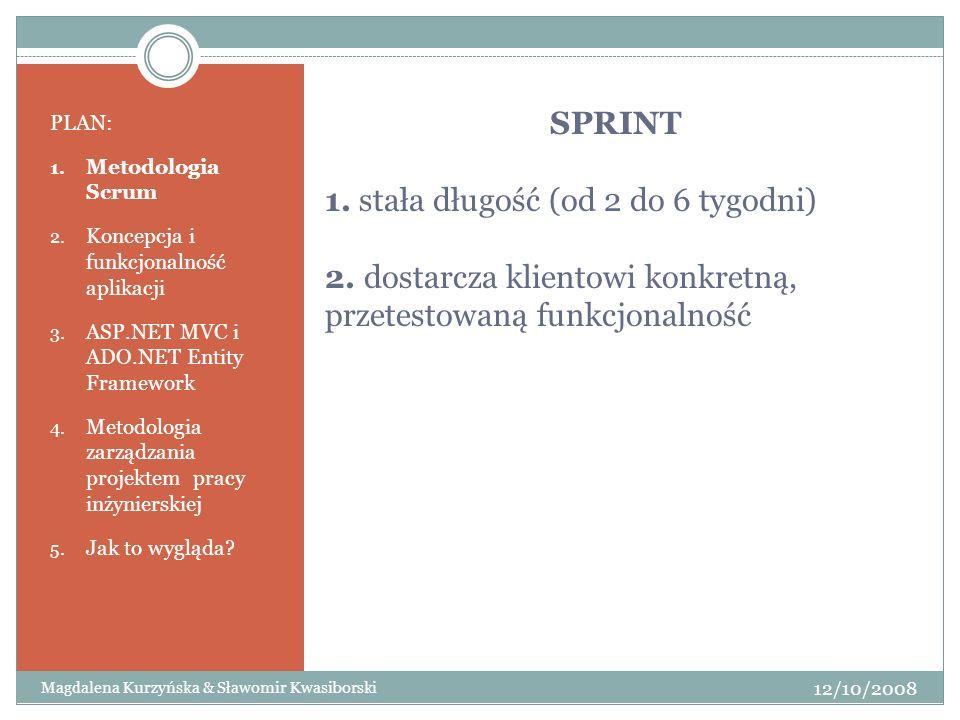 SPRINT 1. stała długość (od 2 do 6 tygodni) 2