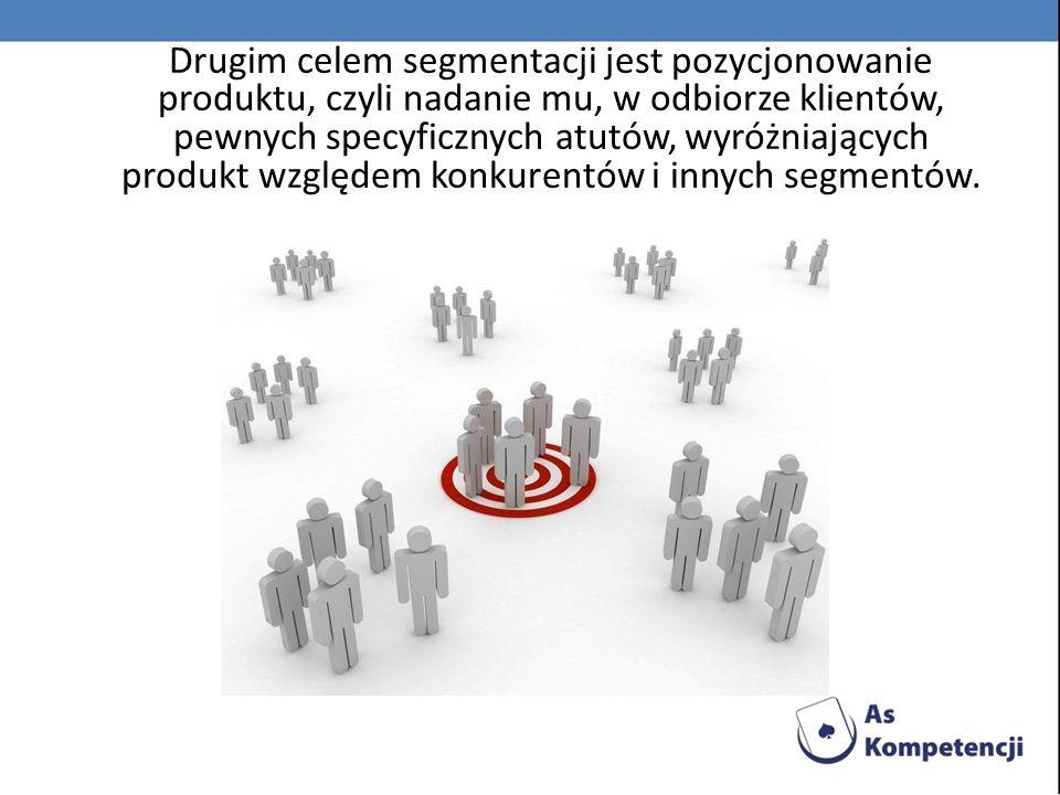 Drugim celem segmentacji jest pozycjonowanie produktu, czyli nadanie mu, w odbiorze klientów, pewnych specyficznych atutów, wyróżniających produkt względem konkurentów i innych segmentów.