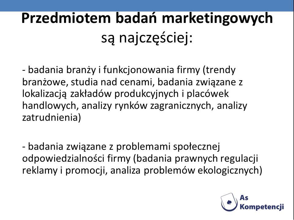 Przedmiotem badań marketingowych są najczęściej: