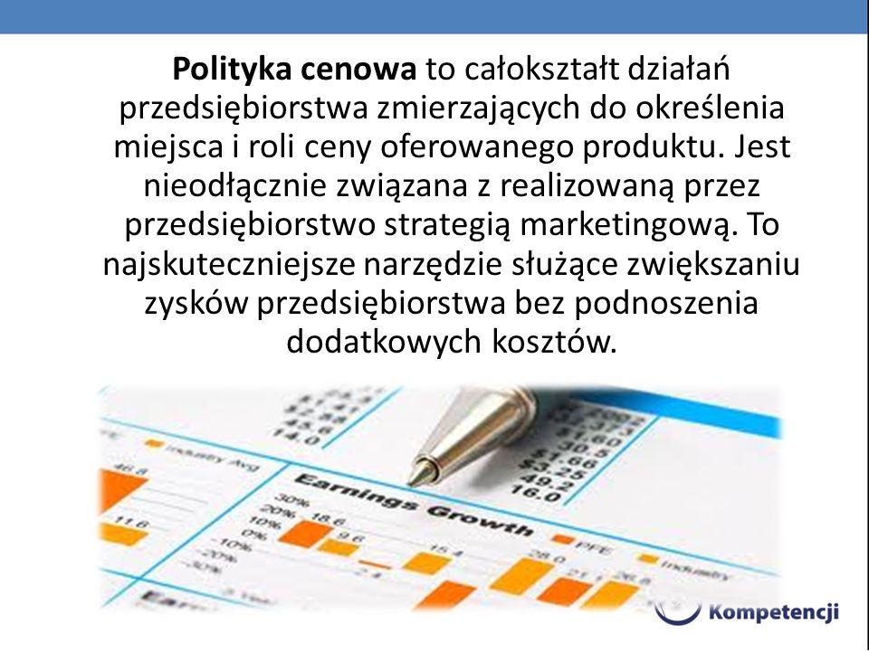 Polityka cenowa to całokształt działań przedsiębiorstwa zmierzających do określenia miejsca i roli ceny oferowanego produktu.