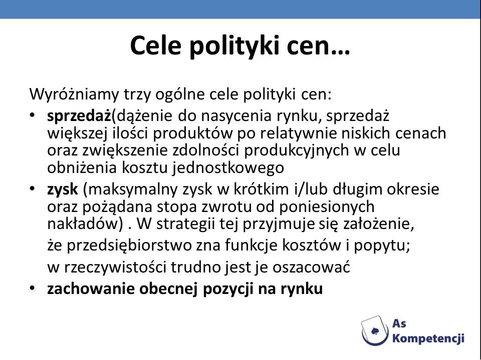 Cele polityki cen… Wyróżniamy trzy ogólne cele polityki cen: