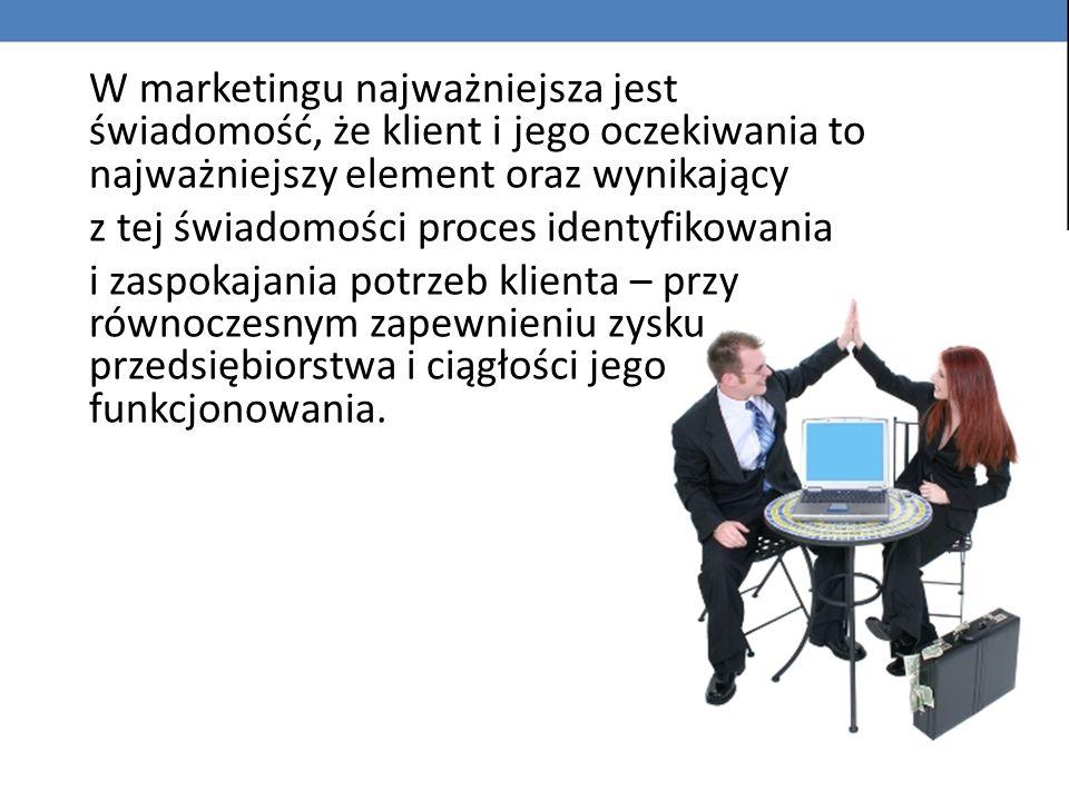 W marketingu najważniejsza jest świadomość, że klient i jego oczekiwania to najważniejszy element oraz wynikający